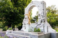 Memorial of Johann Strauss son in Stadtpark Vienna Stock Image