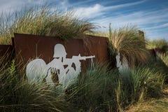 Memorial on Juno Beach Normandy. Metal Artwork near the German bunker Cosy`s pillbox at Juno Beach, Courseulles-sur-Mer stock photo
