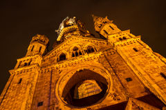 Memorial Kaiser Wilhelm Church at night Royalty Free Stock Image