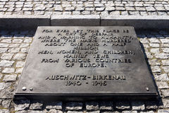Memorial for killed people in Auschwitz II-Birkena Stock Image