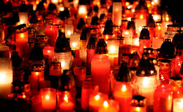 Memorial lampions. Cemetery at night with lights Royalty Free Stock Images