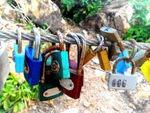 Memorial of love strap locks Stock Image