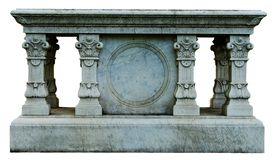 Ornate Table Tomb. A memorial marker, isolated, with ornate pillars made to look like a table Stock Photos