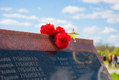 Memorial in Meat Bor. List of fallen soldiers during the Great Patriotic War at the military burial slab near the village of Bor Meat in the Novgorod region Royalty Free Stock Image