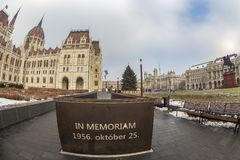 Memorial IN MEMORIAM 1956. OKTOBER 25. Budapest, Hungary-December 19, 2018: Near Parliament building, an underground memorial to those who were killed during the royalty free stock image