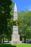 Memorial monument, Concord, MA, USA. Memorial monument on Concord Monument Square in historic town center Concord, Massachusetts, USA stock photos
