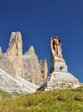 Memorial monument in Dolomites mountains Stock Photo