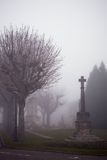 Memorial monument in a fog Stock Photo