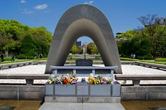 Memorial Monument for Hiroshima, Japan. Memorial Monument for Hiroshima, Memorial Cenotapf for the A-Bomb victims Royalty Free Stock Images