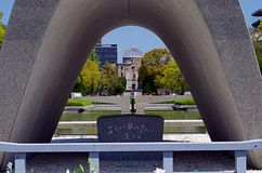 Memorial Monument for Hiroshima, Japan. Memorial Monument for Hiroshima, Memorial Cenotapf for the A-Bomb victims Royalty Free Stock Photos