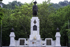 Memorial monument of King Rama I was written in white plate. The Royalty Free Stock Photography