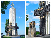 Memorial monument to the Holodomor victims in night. Kyiv, Ukrai Royalty Free Stock Photo