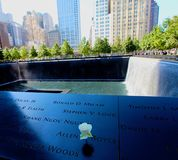 911 memorial twin towers. Mass grave site where many sacrificed their lives on 9-11 remembered at the memorial in New York City stock images