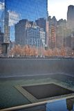 9/11 memorial. NEW YORK CITY - november 2014: NYC's 9/11 Memorial at World Trade Center Ground Zero. The memorial was dedicated on the 10th anniversary of the royalty free stock photography