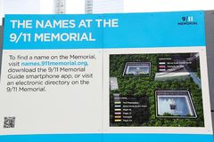 9/11Memorial. New York. Desk with description how to find a name on the Memorial. USA Royalty Free Stock Images