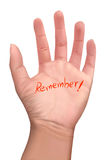 Memorial note on a hand. Illustration of red memorial note on a hand with isolate background Stock Illustration