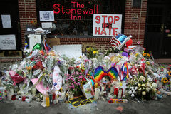 Memorial outside the gay rights landmark Stonewall Inn for the victims of the mass shooting in Pulse Club, Orlando Royalty Free Stock Photos