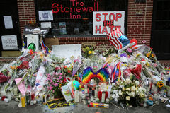 Memorial outside the gay rights landmark Stonewall Inn for the victims of the mass shooting in Pulse Club, Orlando Stock Images