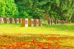 Memorial park. A cemetery park or memorial park in lush green environment Royalty Free Stock Images