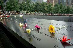 The 9/11 Memorial during Patriot Day. New York City, NY - September 11, 2018 : The 9/11 Memorial during Patriot Day, National Day of Prayer and Remembrance for stock photos