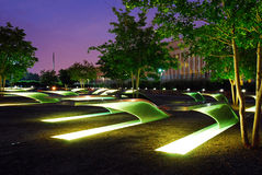9/11 Memorial at the Pentagon. The Lighted Benches Serve as a Memorial for those Killed at the Pentagon on September 11 Stock Photography