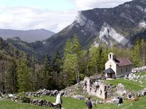 Memorial pilgrimage. On ruins of Valchevriere hamlet in the Vercors,France, destroyed during Royalty Free Stock Photo