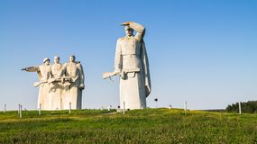 Fragment of the Memorial of the glorious Heroes of Panfilov division, Dubosekovo, Moscow region, Russia. The Memorial is placed in the field, on extensive Royalty Free Stock Photos
