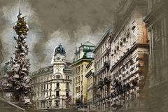 Memorial Plague column, Pestsaule on Graben street in Vienna. Modern painting style texture. Travel illustration Stock Images