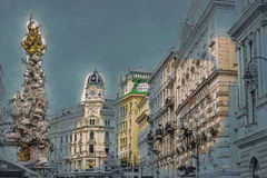 Memorial Plague column, Pestsaule on Graben street in Vienna. Modern painting style texture. Travel illustration Royalty Free Stock Photography