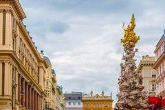 Memorial Plague column, Pestsaule on Graben street in Vienna. Royalty Free Stock Photo