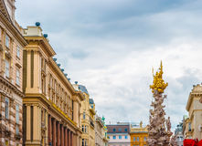 Memorial Plague column, Pestsaule on Graben street in Vienna. The Graben is one of the most famous streets in Vienna first district, the city centre. Beautiful Stock Photography