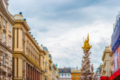 Memorial Plague column, Pestsaule on Graben street in Vienna. The Graben is one of the most famous streets in Vienna first district, the city centre. Beautiful Stock Image