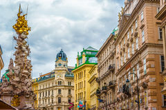 Memorial Plague column, Pestsaule on Graben street in Vienna. The Graben is one of the most famous streets in Vienna first district, the city centre. Beautiful Royalty Free Stock Photo
