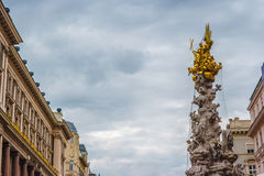 Memorial Plague column, Pestsaule on Graben street in Vienna. The Graben is one of the most famous streets in Vienna first district, the city centre. Beautiful Royalty Free Stock Images