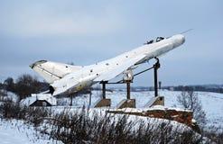 The memorial plane in the village of Karmanovo of the Smolensk region. Rural landscape in the winter stock photos