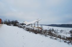The memorial plane in the village of Karmanovo. Smolensk region. Russia. January 16, 2012 stock photo