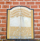 The memorial plaque above the entrance to the monastery of St. Nicholas in Bulgaria Royalty Free Stock Image