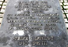 Memorial plaque at Auschwitz Birkenau Concentration Camp Royalty Free Stock Photos