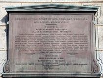 Memorial plaque on Brookyln Bridge Stock Photos