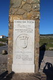 Memorial plaque in Cabo da Roca - the westernmost extent of mainland Portugal. And continental Europe stock photo