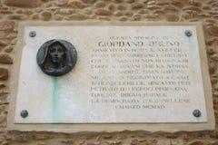 Memorial plaque, Colonnella City Hall, remembering Giordano Bruno stock photography