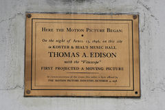 Memorial plaque in commemoration of first projected moving picture by Thomas Edison at  Macy`s Herald Square on Broadway. NEW YORK - APRIL 4, 2017: Memorial Royalty Free Stock Images
