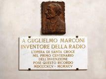 Memorial plaque of Guglielmo Marconi in Santa Croce basilica, Florence Stock Image