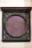 Memorial plaque of Leonardo Da Vinci in Santa Croce basilica, Florence Royalty Free Stock Image