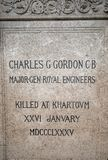 Memorial Plaque of Major General Charles George Gordon who was an army in the British Army, January 2018. Major-General Charles George Gordon CB, also known as Royalty Free Stock Photos