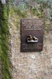 Prague, Czech Republic, January 2015. Memorial plaque in the Prague Zoo. stock images