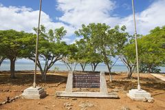 Memorial plaque at the ruins of La Isabella settlement in Puerto Plata, Dominican Republic. Stock Photo