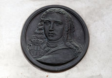 Memorial Plaque to Ivan Gundulic buried in the Franciscan church in Dubrovnik. Memorial Plaque to Ivan Gundulic buried in the Franciscan church of the Friars royalty free stock image