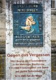 Memorial plaque to the peace prayers for the reunification in Meiningen Germany. 27.October 2018 royalty free stock photo
