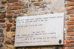 Memorial plaque on wall of the house Juliet in Verona, Italy Royalty Free Stock Photos